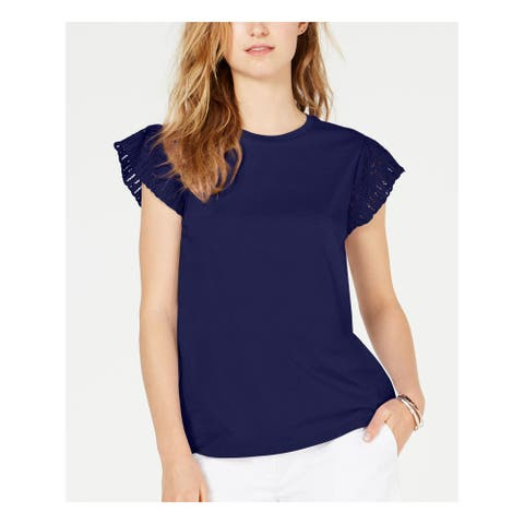 MICHAEL KORS Womens Navy Short Sleeve Crew Neck Top Size L