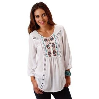Roper Western Shirt Womens Long Sleeve Lace Linen 03-050-0565-0535 WH