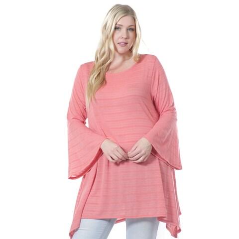 Women's Plus Size Bell Sleeve Tunic 1X-4X