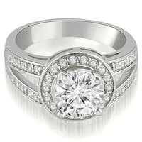 0.85 cttw. 14K White Gold Halo Round Cut Diamond Engagement Diamond Ring