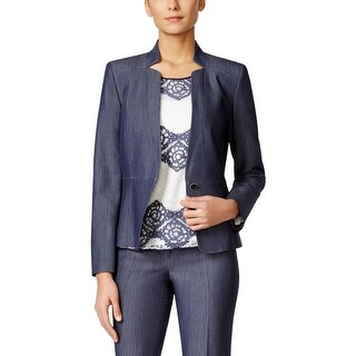 Nine West Womens One-Button Blazer Denim Lined