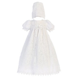 d9d57f040 Baby Girls White Vintage Lace Overall Dress Bonnet Christening Set 0-18M |  Overstock.com Shopping - The Best Deals on Girls' Christening Gowns