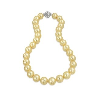 Bling Jewelry Rhodium Plated Imitation Champagne Pearl Bridal Necklace