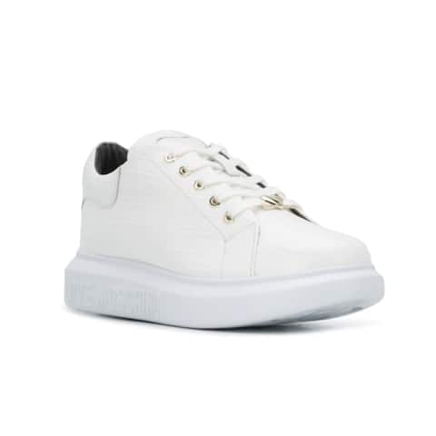 Love Moschino Women's Embossed Leather Heart Patch Chunky Trainer Sneakers White