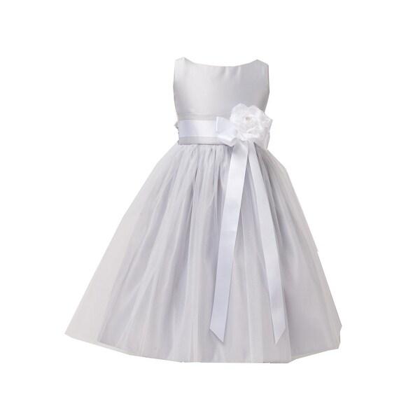 d22927ee5 Shop Sweet Kids Little Girls Silver Tulle Satin Easter Flower Girl Dress -  Free Shipping Today - Overstock - 23104063