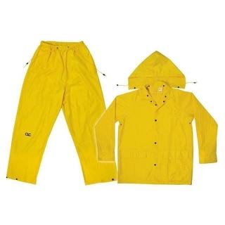 CLC R102M Yellow Polyester 3-Piece Rain Suit, Medium