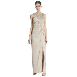 Adrianna Papell Metallic Lace Ruched Satin Evening Gown Dress - 8