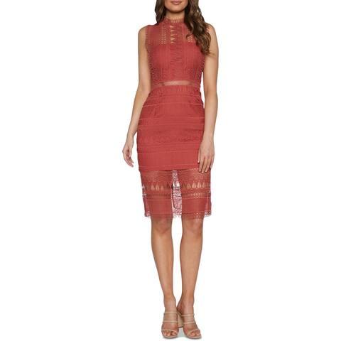 Bardot Womens Mariana Sheath Dress Lace High Neck