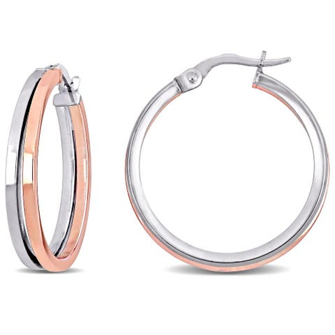 Miadora 18k 2-tone White and Rose Gold Double Hoop Earrings