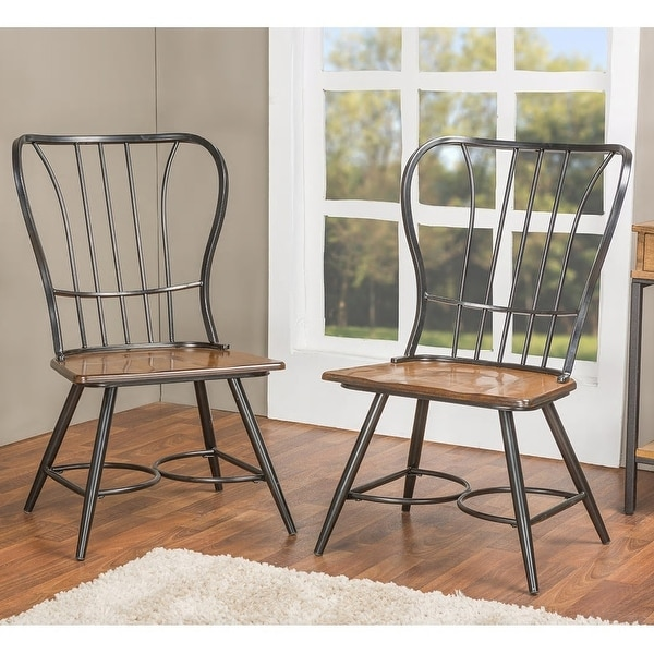 Carbon Loft Rudolph Industrial Metal and Wood Dining Chairs (Set of 2). Opens flyout.