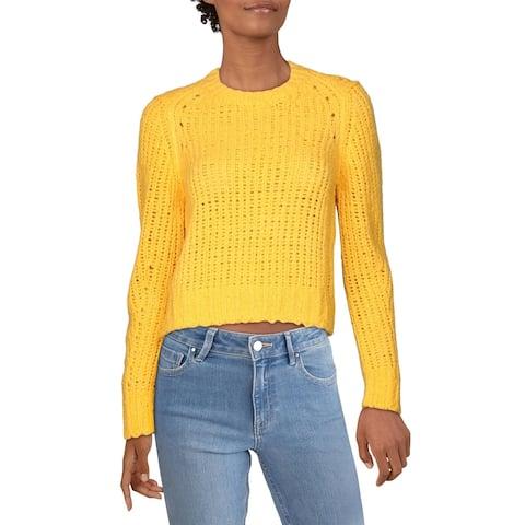 Rag & Bone Womens Crop Sweater Wool Open Stitch - Orange