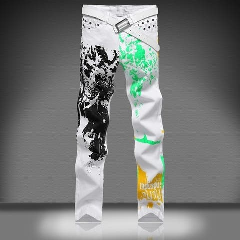 Foreign Trade Jeans Men's Fashion Jeans Leisure Jeans Pomo Personality Slim Fit Trousers