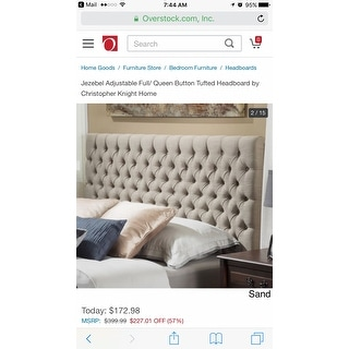 Jezebel Adjustable Full/ Queen Button Tufted Headboard by Christopher Knight Home