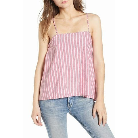 Leith Red White Womens Size XXL Stripe Button Back Camisole Top