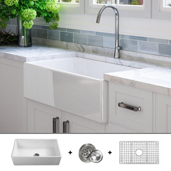 Shop Luxury 33 Inch Modern Fireclay Farmhouse Kitchen Sink, Single Bowl, White, Flat Front