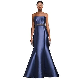 Badgley Mischka Embellished Strapless Ruffle Back Evening Gown Dress