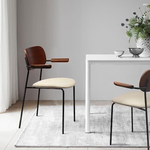 Kyla Dining Chair Upholstered Seat Matte Black Metal Legs and Solid Wood Armrests (Set of 2)