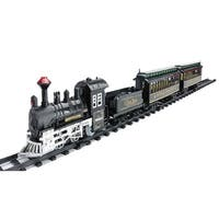 14-Piece Battery Operated Lighted & Animated Classic Train Set with Sound - black