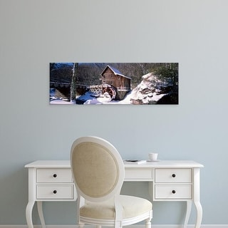 Easy Art Prints Panoramic Image 'Watermill in forest, Glade Creek Grist Mill, Babcock Park, West Virginia' Canvas Art