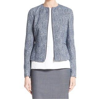 Collarless Tweed Blue Women's Size 14 Collarless Tweed Jacket
