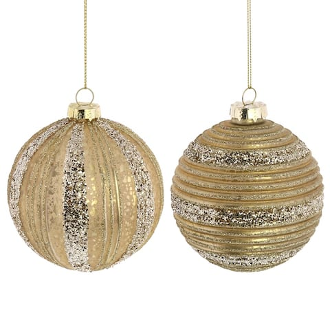 Holiday Theme Ribbed Round Glass Ornament, Gold