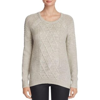 H. One Womens Pullover Sweater Wool Blend Cable Knit