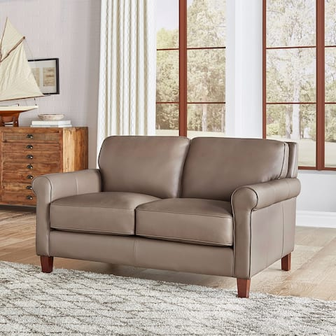 Hydeline Laguna Top Grain Leather Loveseat With Feather, Memory Foam and Springs