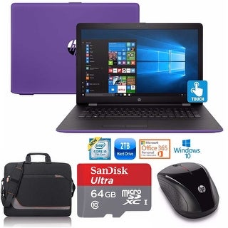 "HP 17-bs023 Core i5-7200 2TB HDD 17.3"" TouchScreen Laptop Bundle with Office 365 (Refurbished) - Purple"