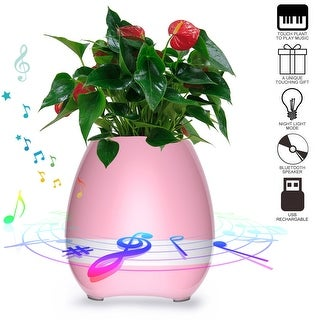 AGPtek Music Flowerpot Touch Plant Piano Music Playing Smart Colorful LED Light Bluetooth Wireless Speaker(Pink)