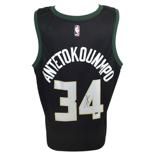 new arrivals d2611 2b251 Giannis Antetokounmpo Signed Milwaukee Bucks Black Nike Swingman Jersey JSA