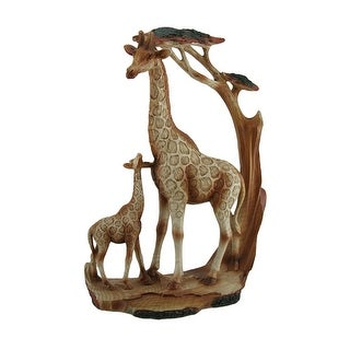 Giraffe Family Carved Wood Look Resin Statue - 12 X 8.5 X 3 inches