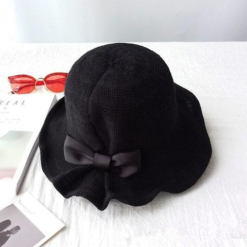 Elegant Temperament Foldable Bowknot Sun Hat Women