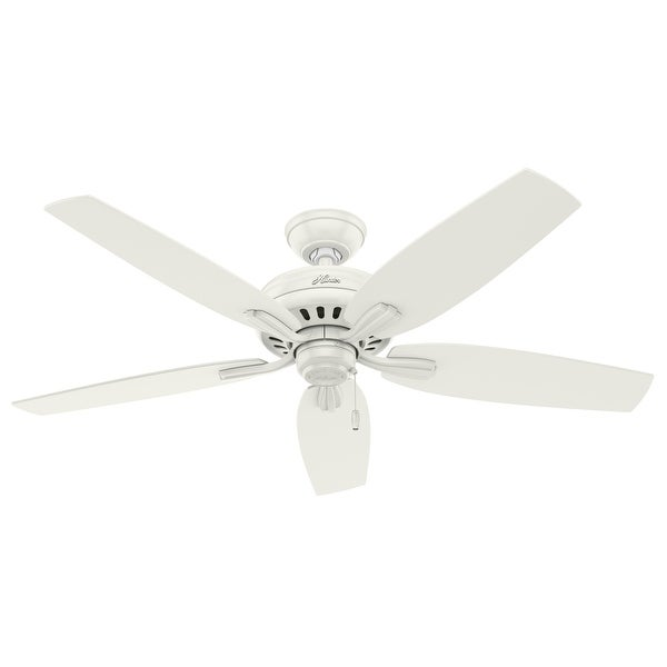"""Hunter 52"""" Newsome Outdoor Ceiling Fan with Pull Chain, Damp Rated. Opens flyout."""