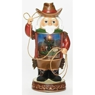"Set of 2 Kurt Adler Musical LED Cowboy Christmas Decorative Nutcracker 11.75"""