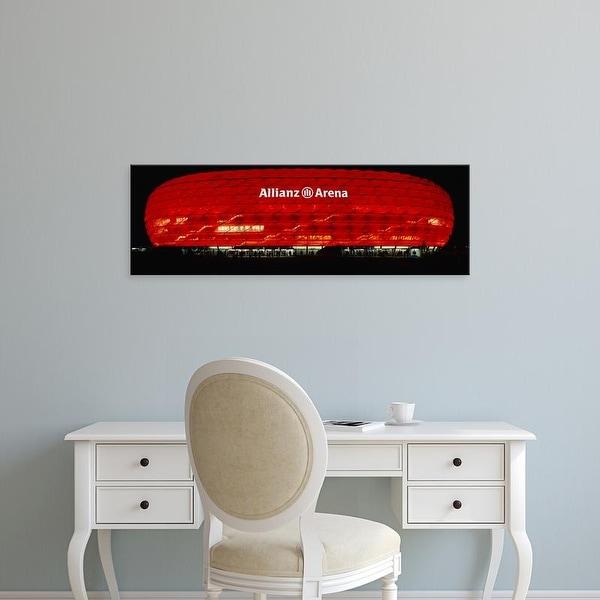 Easy Art Prints Panoramic Images's 'Soccer Stadium Lit Up At Night, Allianz Arena, Munich, Germany' Premium Canvas Art