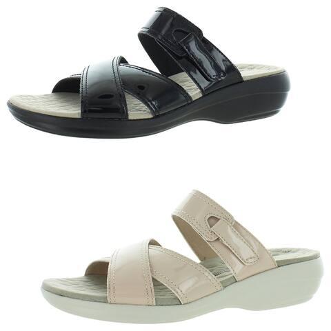 Clarks Alexis Art Women's Patent Criss Cross Adjustable Slide Sandals