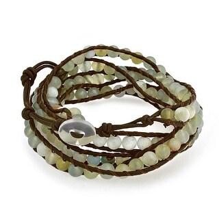 Bling Jewelry Green Prehnite Gemstone Bead Wristband Leather Wrap Bracelet 36in