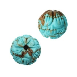 Dyed Magnesite Gemstone Beads, Round Carved Flower 8.5mm, 10 Pieces, Turquoise