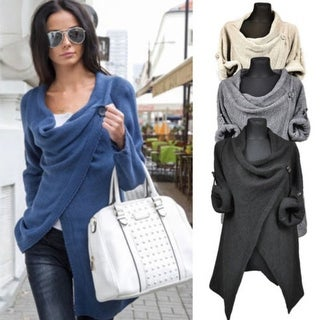Women Irregular Casual Loose Shawl Long Sleeves Lady Knit Sweater Coat