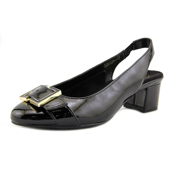 Aerosoles Ink Pad Women Round Toe Patent Leather Black Slingback Heel