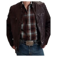 Stetson Western Jacket Mens Zip Leather Brown