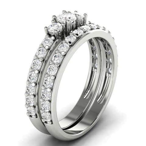 1.05 CT Three-Stone Round Cut Diamond Engagement Bridal Set in 14KT