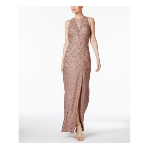 NIGHTWAY Womens Beige Gown Sequined Lace Sleeveless V Neck Maxi Evening Dress Petites Size: 8