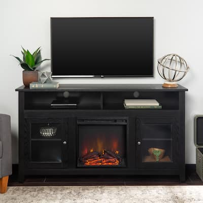 Black Finish 58-inch 2-Door Fireplace TV Stand Console