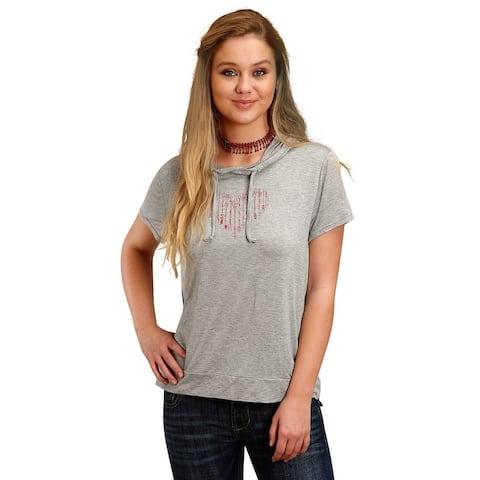 Roper Western Shirt Womens Short Sleeve Light Gray