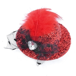 Heart Rhinestone Decor Party Feather Red Black Top Hat Alligator Hair Clip