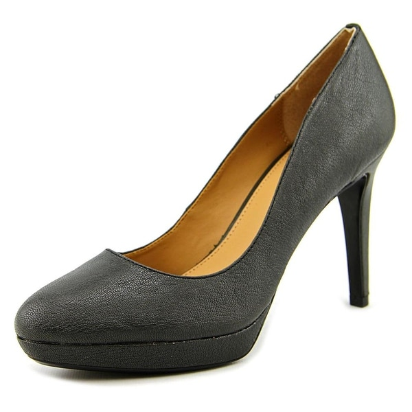Calvin Klein Paulette Round Toe Leather Heels