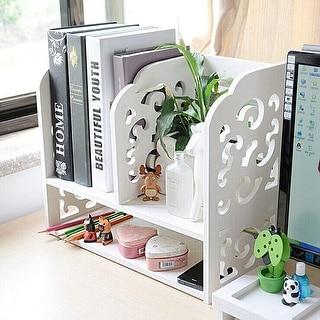 DL furniture - 3 Compartment Wood plastic composite Desk Organizer, Perfect For Book Shelf, Make Up Organizer, Cookie Rack