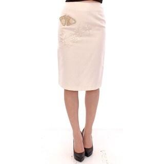 Andrea Incontri Andrea Incontri White Cotton Floral Embroidery Skirt