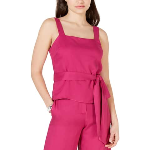 Lucy Paris Womens Grace Tank Top Belted Square Neck - Fuchsia